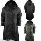 Womens Brave Soul Jacket Ladies Raincoat Fishtail Waterproof Parka Plain Hooded