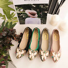 Women Flats Shoe Crystal Butterfly Casual Soft Boat Ballet Girl Shoes Big Size