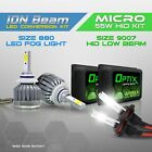 9007 55w HID Low Beam Headlight Xenon Conversion Kit + 880 6000K LED White Fog