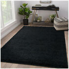 Black Area Rug Shaggy Soft Fluffy Modern 5cm Thick Contemporary Plain Carpet