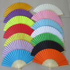 Potable Chinese Plain Hand Held Fabric Folding Fan Summer Pocket Fan Wedding JR