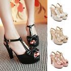 Womens Bowknot Open Toe Ankle T-strap High Heels Stiletto Party Pump Sandals New