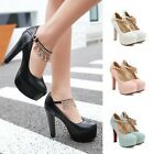 Women's Platforms Ankle Strap Buckle Chunky High Block Heels Party Pump Sandals