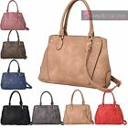 NEW LADIES PU LEATHER PATCHES DETACHABLE STRAP TOTE SHOULDER CROSSBODY BAG