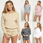 DIVADAMES  Womens Marl Knit Jumper And Short Set-TS2277