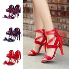 Fashion Women Suede Ankle Straps Strappy High Heels Stiletto Pumps Party Sandals