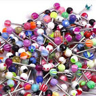 100PC Tongue Bars Surgical Steel Barbell Ring Mixed Ball Body Piercing Jewellery