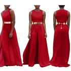 Cool Sleeveless Women Red Jumpsuit O-neck Loose Long Playsuit False Overall