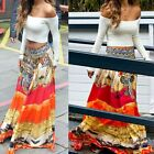 Usa Women Chiffon Stretch High Waist Maxi Dress Skater Flared Pleated Long Skirt