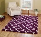 Modern Purple Trellis Shaggy Moroccan Carpet Contemporary Soft Area Rug 5CM Pile