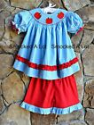 Smocked A Lot Girls Back to School Apple Shorts Set Red Aqua Outfit Dress Ruffle