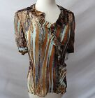 ETCETERA BROWN ANIMAL PRINT SHEER SILK BLOUSE sizes 2 4 6 8  NEW $175