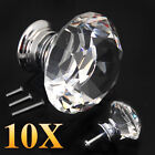 1/8/10/16X 30MM Clear Crystal Glass Door Knobs knob Drawer Handle Cabinet +Screw