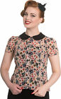 Hell Bunny WITCHY BLOUSE Retro Chiffon Pin Up HALLOWEEN Pumpkin BLUSE Rockabilly