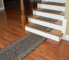 Dean Washable Non-Skid Carpet Stair Treads w/Landing Runner - Garden Path Brown