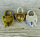 1 Padlock and key! Works! Heart Shaped antique silver Bronze Pendant Lock w Key image