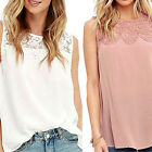 Womens Sleeveless Shirt Casual Lace Chiffion Blouse Ladies Loose Tops T Shirt UK
