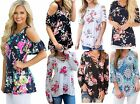 Woman's Ladies Floral Wedding Party Caged Cold Shoulder Top Size 12 14 16 18
