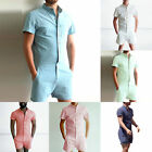 New Mens One piece Short Sleeve Pants Casual Shorts Jumpsuit Rompers Casual