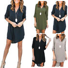 Womens Loose V Neck Chiffon T Shirt Long Sleeve Oversized Tops Blouse Dress UK
