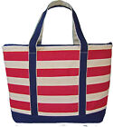 Extra Large Red Striped Canvas Shopping, Baby, Beach Bag, Boat Tote