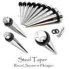 Square or Hexagonal Steel Ear Taper, Ear Stretcher Plug Expander Hexagon