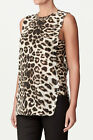 KITX Designer Top Label Leopard Womens Ladies 100% Organic Size 8 10 12 Singlet