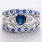 Size6~10 18K White Gold Filled Jewelry Blue CZ  Lovers Rings For Wedding sets