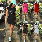 Women Sexy Sleeveless Bodycon Hole Printed Basic Tee Cocktail Party Dress N98B