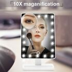 10X Magnifying 20 LEDs Lighted Glass Makeup Mirror 180° Rotation Touch Screen