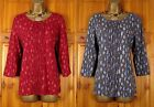 NEW EX EVANS RED OR GREY LEAF PRINT COTTON 3/4 SLEEVE TUNIC TOP BLOUSE UK 14-24