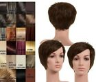 LADIES 100% SOFT HUMAN HAIR FULL HEAD PIXIE CROP WIG FEATHERED BANGS LUXURY