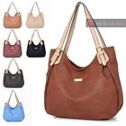 WOMENS NEW HIGH QUALITY FAUX LEATHER CONTRAST STRAPS TOTE SHOULDER BAG