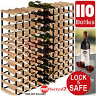 Timber Wine Rack 110 Bottle Wood Steel Cellar Organiser Stand Vintry Collection