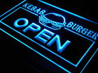 i167-b OPEN Kebab Burger Cafe Fast Food Neon Light Sign