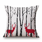 Merry Christmas Cotton Linen Bed Car Pillow Case Cushion Cover Gift Cute