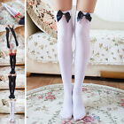 Girl Stretchy Meias Over The Knee High Socks Stockings Tights With Bows Thighi1L
