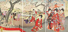 3 Japanese Art Prints Cherry Blossom by Chikanobu Viewing Wall Poster Home Decor