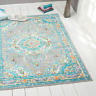 Gray Blue Faded Modern Transitional Oriental Area Rug Bordered Medallion Carpet