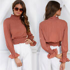 New 2017 Autumn Women Turtleneck Puff Sleeve Ruffle Tunic Tops T shirts Blouse