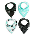 4Pcs Baby Infant Kids Bandana Bib Boy Girl Cotton Saliva Towel Dribble Scarf Set