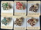 New Vintage Rhinestone colors gold peacockBrooches For Women Pin Crystal Broches