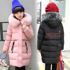 2017 Winter Kids Girls Fur collar Thicken long section Down Jacket 3 Color 4-12Y