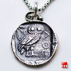 Sterling Silver Greek Athena Owl Tetradrachm Coin Pendant Necklace-Baby Owl.