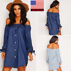 Womens Ladies Off Shoulder Button Denim Look Shirt Mini Dress Tops Loose Blouses