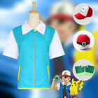 New Pokemon Ash Ketchum Costume Fancy Dress Cosplay Outfit Jacket Hat Pokeball