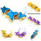 23mm-30mm Natural Drusy Durzy Agate Gold Butterfly Beads 5pcs yellow blue purple