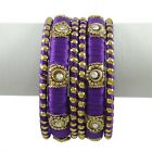 Thread Wrapped Set Of 6 Bangle Gold Tone Indian Fashion Jewelry 2*8-ATB565A-PAR