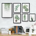 Modern Watercolor Green Plant Leaves Canvas Painting Art Print Poster Wall Decor