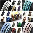 "Natural Stone Round 4mm 6mm 8mm 10mm bead Bracelet 7.5"" Elastic Bangle wholesale"